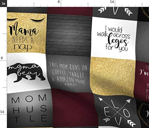 Spoonflower mom Life Fabric - Mom Life Cheater Quilt Panel Gray Burgundy Mnutt1 Mom Life Mama Bear Hustle Target Motherhood by Lacklandacres Printed on Modern Jersey Fabric by The Yard