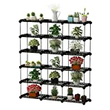 JYYG Portable Plant Stands Custom Shaped Succulents Pot Shelf Standing Baker's Racks for Flowers Metal Shelving Unit for Green House Indoor Outdoor Multifunction Storage Organizer, 15-grid Black