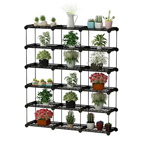 JYYG Portable Plant Stands Custom Shaped Succulents Pot Shelf Standing Baker's Racks for Flowers Metal Shelving Unit for Green House Indoor Outdoor Multifunction Storage Organizer, 15-grid Black by JYYG