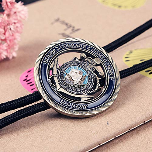 HIMONGOO US Navy Medal BOLO Tie for Men or Women Wedding Necklace Western Cowboy