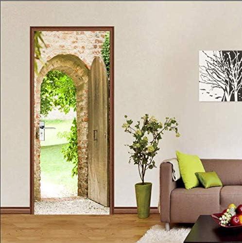 ASDFFDF Creativo 3D Red Ladrillo Tablero Puerta Pegar Dormitorio ...