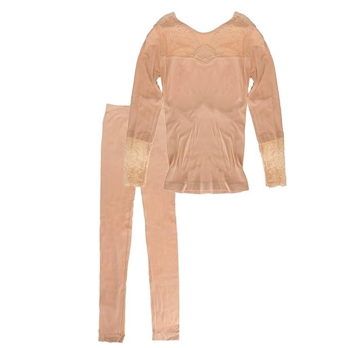 Magideal Set de Ropa Interior Térmica Suave Largo Capa Base Pijama John Mujeres Muchachas - Color