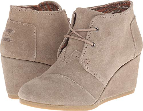 TOMS Women's Desert Wedge Taupe Suede 5.5 B US