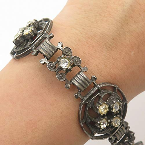 Antq Signed Coro 925 Sterling Silver Crystal Wide Link Bracelet 7.5