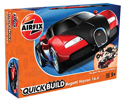 Airfix Quickbuild Bugatti Veyron Red & Black Snap Together Plastic Model Kit J6020 (Super Car Model Kits)