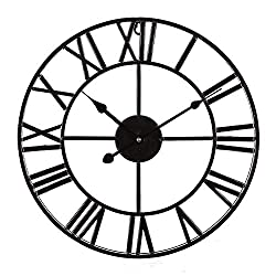 ZOUQILAI Large Traditional Metal Frame Iron Wall Clock Vintage Style with Roman Numerals Stylish 60cm Open Back Skeleton Black