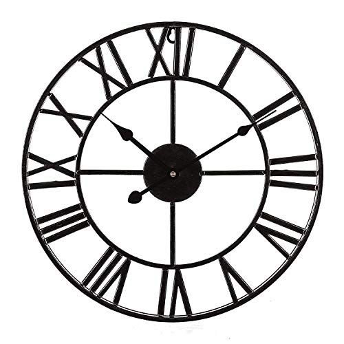 Goquik Wall Clocks Large Traditional Metal Frame Iron Wall Clock Retro Style with Roman Numerals Fashion 60 cm Open Back Skeleton Black Clocks