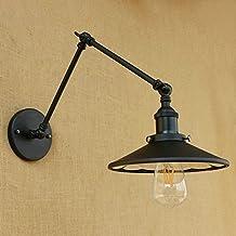 Loft Creative single head adjustable iron wall lamp Many styles Multi color Reading arm light parlour bedroom bedside lamp barn light Learning lamp ( Color : Black-30cmX30cm )
