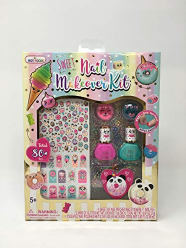 Hot Focus Scented Nail Makeover Kit Sugar Rush - 2 Scented Nail Polishes, 2 Jars of Glitter, 16 Nail Patches, 50+ Nail Stickers. Non-Toxic Water Based Peel Off Nail Polish. Makeup Kit for Kids/Girls.