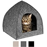 BronzeDog Cat House Bed with Removable Cushion Pad Cozy Kitten Cave Cute Pet Tent Beds for Cats Puppy Small Dogs (S, Grey)