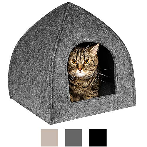 BronzeDog Cat House Bed with Removable Cushion Pad Cozy Kitten Cave Cute Pet Tent Beds for Cats Puppy Small Dogs (L, Grey)