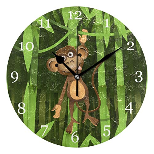 KUWT Jungle Bamboo Monkey Wall Clock Silent Non-Ticking 9.5 Inch Round Clock Acrylic Art Painting Home Office School Decor