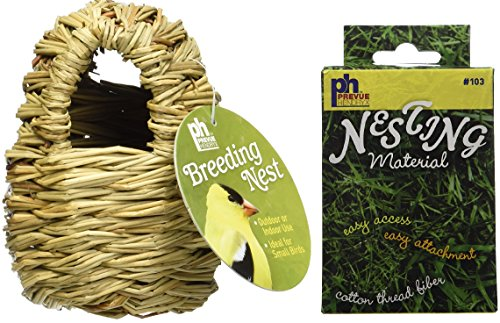 Prevue Pet Products Finch Covered Twig Birds Nest, 4-Inch, Plus a Box of Cotton Thread Fibers Bird Nesting Material ()