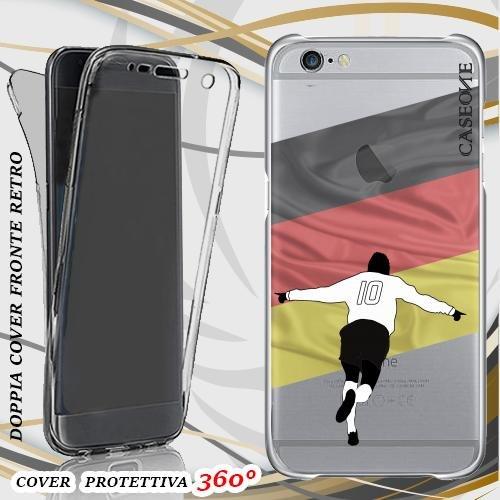CUSTODIA COVER CASE CALCIATORE GERMANIA PER IPHONE 6 FRONT BACK TRASPARENTE