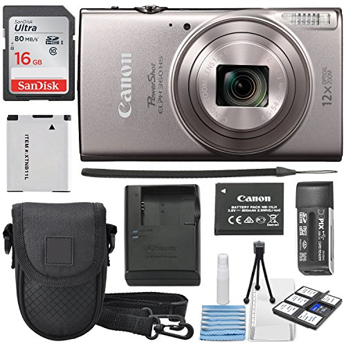 Canon PowerShot ELPH 360 HS (Silver) with 12x Optical Zoom and Built-In Wi-Fi with Deluxe Starter Kit Including 16 GB SDHC Class10 + Extra battery + Protective Camera Case