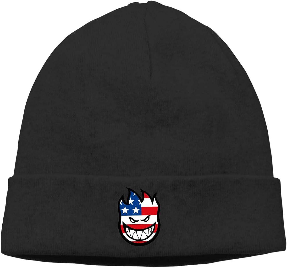 Miss Yoki Spitfire Flaghead Knit Skull Caps Thick Soft Warm Winter Hats for Women Men Cotton Hat Black
