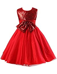 Little Girl Dress Kids Princess Sequins Party Skirt Bridesmaid Bowknot Prom Gown Pageant Dresses