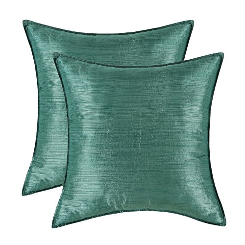 SET OF 2 Euphoria Cushion Covers Pillows Shells Light Weight Dyed Stripes Hunter Green Color 20