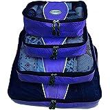 Evatex Luxury Packing Cubes, 4 Pcs Set (Blue), with Laundry, Shoe Bag