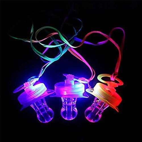 6 Pcs/ lot LED Light-Up Flash Pacifier Whistle Party Club Favors, Random Color ()