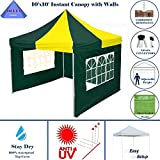 Cheap 10'x10′ Ez Pop up Canopy Party Tent Instant Gazebo 100% Waterproof Top with 4 Removable Green/Yellow – E Model By DELTA Canopies