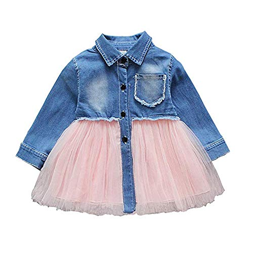 Toddler Infant Baby Girl Dress Denim Jeans Top Pink Tulle Tutu Dress Skirt Outfits (Long Sleeve-Jeans, 12-18 -