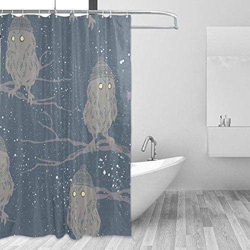 Franzibla Owl Pattern Print Shower Curtains 60 x 72 inches P