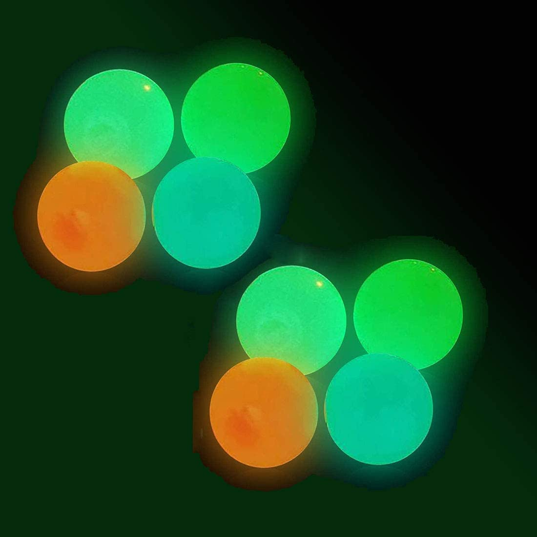 Glow in The Dark Sticky Ceiling Balls,8Pcs,Stress Balls for Adults and Kids,Glow Sticks Balls,Squishy Toys for Kids,Figit Toys,Fun Toy for ADHD, OCD, AnxietyGifts for Adults and Kids