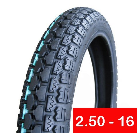 Tire 2.50 - 16 Front or Rear Motorcycle Dual Sport On/Off Road Slightly Knobby (P43)