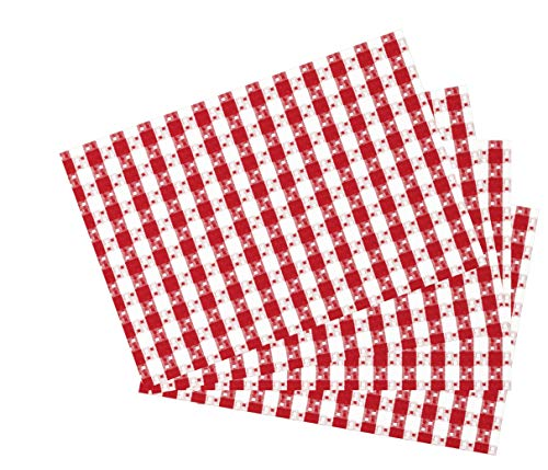 HomweLinen Table Placemats, 100% Cotton Thick Quality Heavy Extra Dobby Weave Gingham Buffalo Check Plaid Placemat, Set of 4 Pack- 13x19 Inch, Spicy Red & White