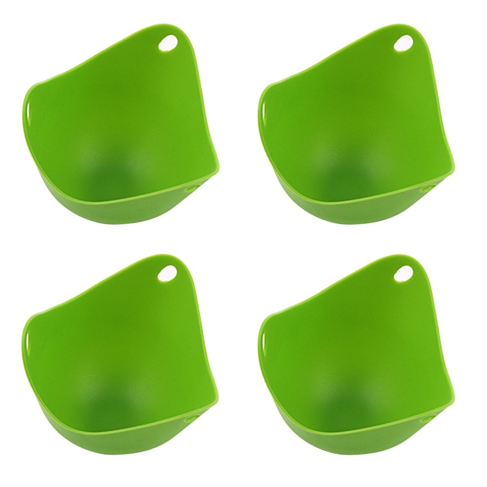 4 PCS Silicone Egg Poachers Molding Cups Kitchen Cookware Baking Tool in Microwave Oven Steamer Green Gosear