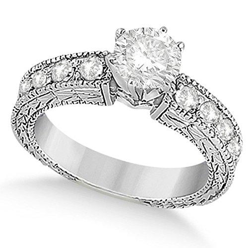 Women's Preset Vintage Heirloom Round Diamond Engagement Ring in 14k White Gold (3.50 carat) ()