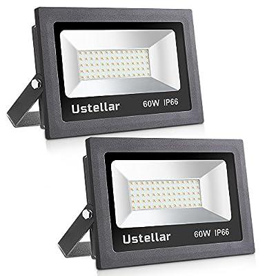 Ustellar 2 Pack 60W LED Flood Light, IP66 Waterproof
