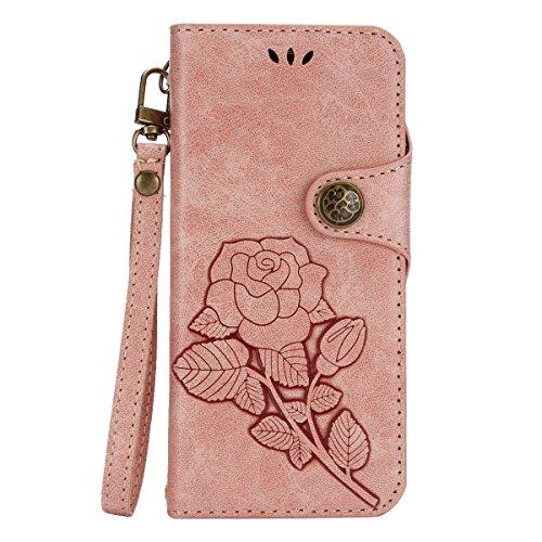 Galaxy S8 Plus Hülle,Galaxy S8 Plus Handyhülle,JAWSEU Lanyard Schutzhülle für Samsung Galaxy S8 Plus,Elegante Retro Handyhülle Leder Tasche Flip Cover Wallet Case Prägung Floral Rose Blumen Strap Must Rosa