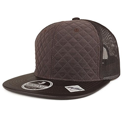 Trendy Apparel Shop Suede Quilt Mesh Snapback Cap With PU Leather Flat Bill - Brown Brown