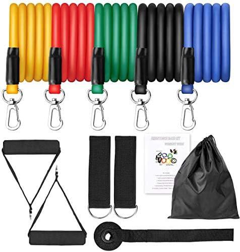 Telagoo fitness bands juego de bandas de fitness, 5 bandas de fitness, bandas de resistencia, manijas, anclajes de puertas, correas de tobillo y bolsa ...