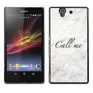 Be Good Phone Accessory // Dura Cáscara cubierta Protectora Caso Carcasa Funda de Protección para Sony Xperia Z L36H C6602 C6603 C6606 C6616 // Call Me Crumpled Paper Calligraphy