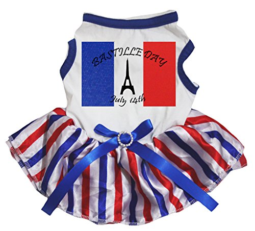 National Costumes Of France (Petitebella Puppy Clothes Dress France Day July 14th White Top RWB Stripe Tutu (Small))
