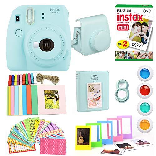 Fujifilm Instax Mini 9 Instant Print Camera  Super Bundle with New Camera Case & Accessories | Photo Album, Photo Stickers, 10 Mini Frames, Close Up Lens & More (Ice Blue)(Renewed)