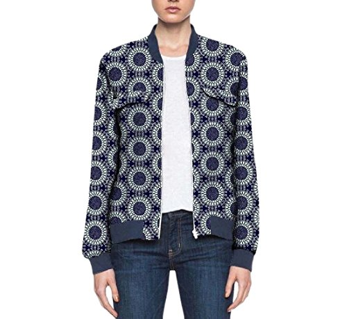 Vska Women's Coat Cotton Africa Zip Dashiki Classic Baseball Jacket 3 XL by Vska