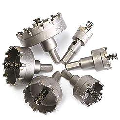 6pcs Hole Saw Kit for Metal, Carbide Tip...