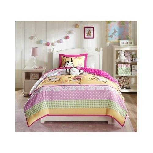Modern Kids Girls Monkey Comforter Pink Animal Print Bedding Set with Pillows (Full/queen) Include Scented Candle Tarts by Unknown (Image #4)