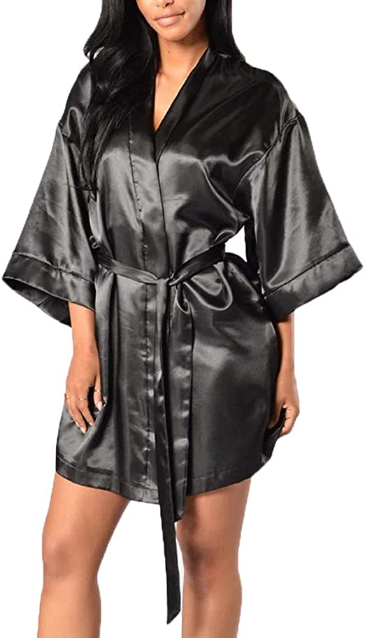 Zyueer Robe De Chambre Courte Femme Peignoir Satin Peignoir De Bain Kimono Bathrobe Lache Amazon Fr Vetements Et Accessoires