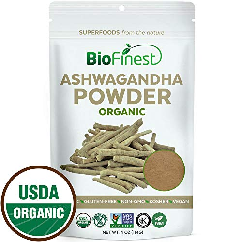 Biofinest Ashwagandha Root Powder (Indian Ginseng) - 100% Pure Freeze-Dried Antioxidant Superfood - USDA Organic Vegan Raw Non-GMO - Boost Stamina - for Smoothie Beverage Blend (4 oz Resealable Bag)
