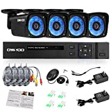 OWSOO 4CH Full AHD 1080N 1500TVL CCTV Surveillance DVR Security System 4 pcs 720P Infrared Bullet Camera upport IR-CUT Filter Infrared Night Vision Weatherproof Motion Detection Cameras