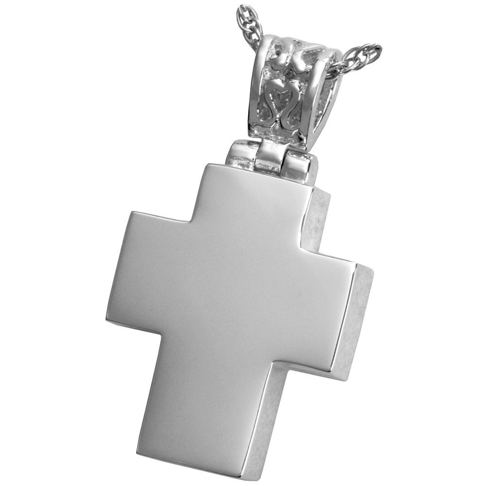 Sterling Silver Memorial Gallery MG-3303s Cross with Filigree Bail Sterling Silver Cremation Pet Jewelry