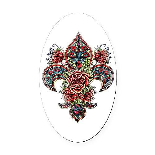 Oval Car Magnet Large Floral Fleur De Lis