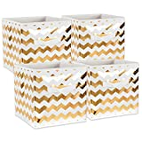 DII Fabric Storage Bins for Nursery, Offices, Home Organization, Containers Are Made To Fit Standard Cube Organizers (11x11x11) Chevron Gold - Set of 4
