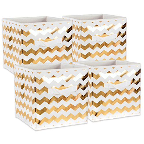 DII Fabric Storage Bins for Nursery, Offices, Home Organization, Containers Are Made To Fit Standard Cube Organizers (11x11x11) Chevron Gold - Set of 4 (Pattern Canvas Plastic Accessories)