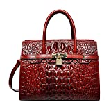 PIJUSHI Women Purses And Handbags Crocodile Top Handle Satchel Bags Designer Padlock Handbags (22130 Red)